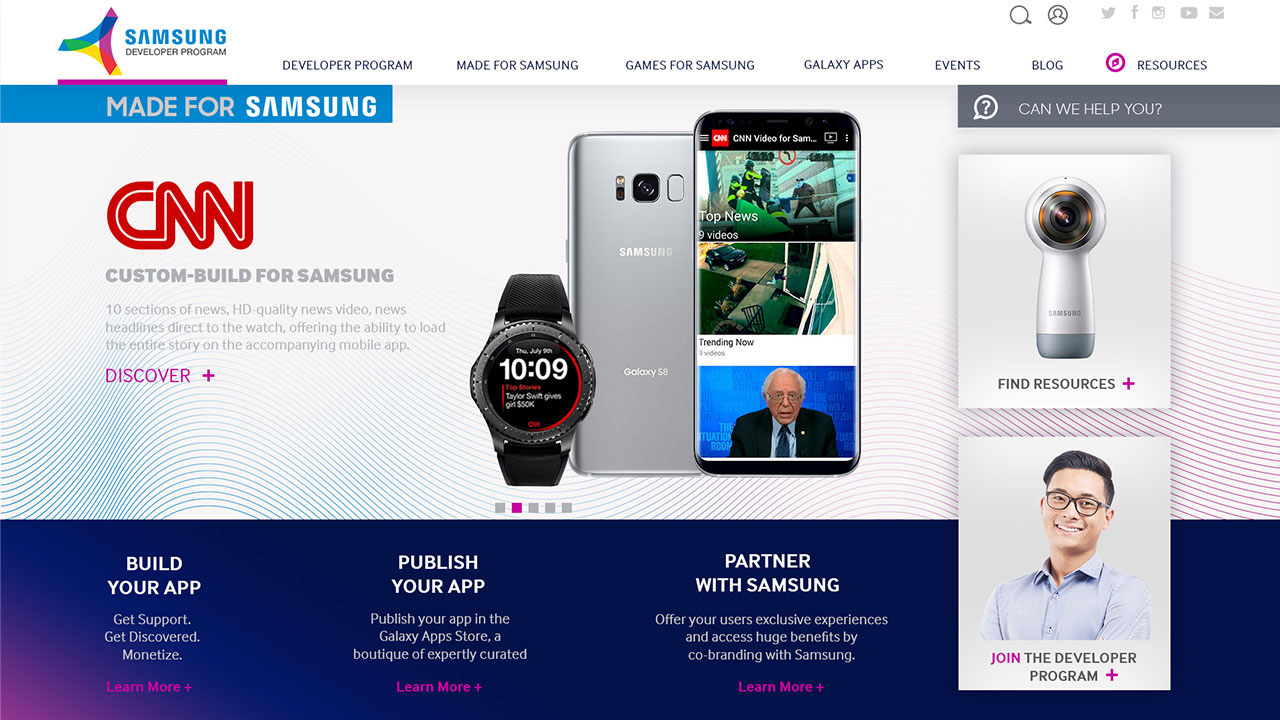 Samsung Developer Program Website Redesign